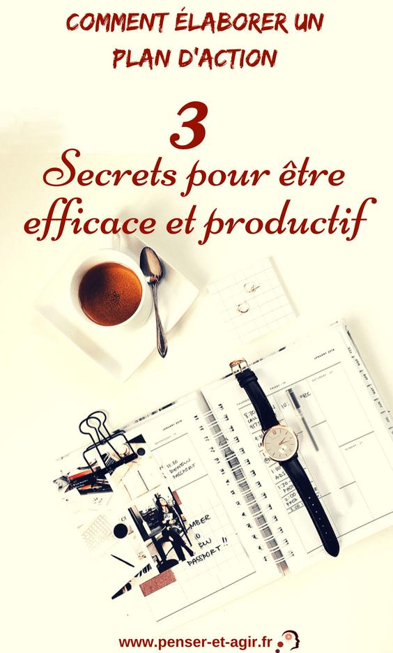 Comment élaborer un plan d'action : 3 secrets pour être efficace et productif  Élaborer un plan d'action est indispensable pour réaliser ses projets. Voici 3 secrets pour définir vos plans d'action efficacement et rapidement